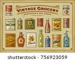 vintage grocery set | Shutterstock . vector #756923059