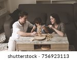 mother and father playing... | Shutterstock . vector #756923113
