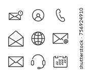 9 contact line icons. icons for ... | Shutterstock .eps vector #756924910