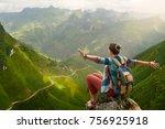 happy and joyful hiker with... | Shutterstock . vector #756925918