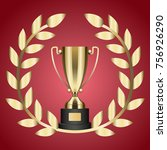 gold trophy for victory and... | Shutterstock . vector #756926290