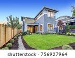 exterior of grey blue craftsman ...   Shutterstock . vector #756927964
