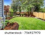 view of an attractive backyard... | Shutterstock . vector #756927970