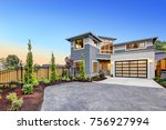 excellent curb appeal of a... | Shutterstock . vector #756927994