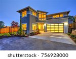beautiful curb appeal of a... | Shutterstock . vector #756928000