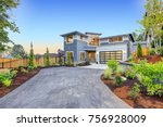 excellent curb appeal of a... | Shutterstock . vector #756928009