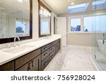 bright and airy master bathroom ... | Shutterstock . vector #756928024