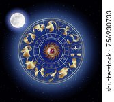 zodiac signs around in outer...   Shutterstock .eps vector #756930733