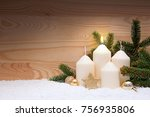 white burning candle for the...   Shutterstock . vector #756935806