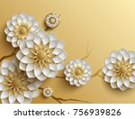 3d branches of golden arabesque ... | Shutterstock . vector #756939826