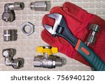 adjust wrench power grip and... | Shutterstock . vector #756940120