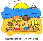 children's drawing families... | Shutterstock .eps vector #75694198