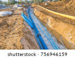 construction site with new... | Shutterstock . vector #756946159
