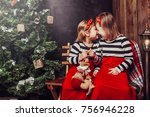 merry christmas and happy... | Shutterstock . vector #756946228