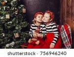 merry christmas and happy... | Shutterstock . vector #756946240