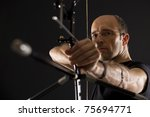 close up of bowman in black on... | Shutterstock . vector #75694771