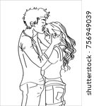 line art sketch of young... | Shutterstock .eps vector #756949039