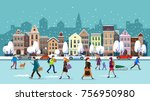 winter city street.winter... | Shutterstock .eps vector #756950980