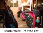 school bags in the classroom | Shutterstock . vector #756955129