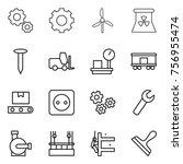 thin line icon set   gear ... | Shutterstock .eps vector #756955474
