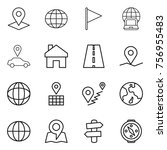 thin line icon set   pointer ... | Shutterstock .eps vector #756955483