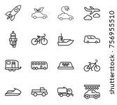thin line icon set   rocket ... | Shutterstock .eps vector #756955510