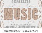 font alphabet handcrafted... | Shutterstock .eps vector #756957664