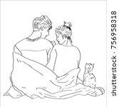 line art sketch young couple in ... | Shutterstock .eps vector #756958318