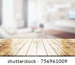 closeup top wood table with... | Shutterstock . vector #756961009