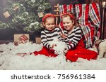 merry christmas and happy... | Shutterstock . vector #756961384