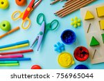 top view on colorful paints and ... | Shutterstock . vector #756965044