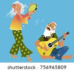 old hippie couple playing... | Shutterstock .eps vector #756965809