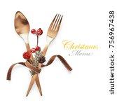 christmas menu concept golden... | Shutterstock . vector #756967438