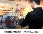 business man use smart phone...   Shutterstock . vector #756967603