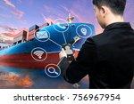 business man use smart phone... | Shutterstock . vector #756967954
