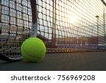 tennis ball and racket on hard...   Shutterstock . vector #756969208