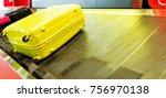 baggage on conveyor belt at... | Shutterstock . vector #756970138