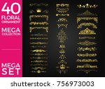 set of floral ornament luxury... | Shutterstock .eps vector #756973003