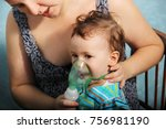 two year old baby girl inhaling ... | Shutterstock . vector #756981190
