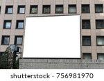 large blank billboard on a...   Shutterstock . vector #756981970