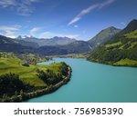 drone views switzerland  | Shutterstock . vector #756985390