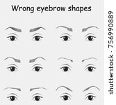 female eyes and wrong eyebrows  ... | Shutterstock .eps vector #756990889