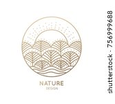 the logo of nature elements on... | Shutterstock . vector #756999688