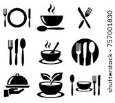 kitchen plates set icons | Shutterstock .eps vector #757001830