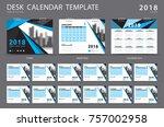 desk calendar 2018 template.... | Shutterstock .eps vector #757002958