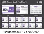 desk calendar 2018 template.... | Shutterstock .eps vector #757002964