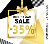 christmas sale  35  banner with ... | Shutterstock .eps vector #757006228