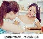 teens girls studying together... | Shutterstock . vector #757007818