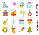 new year and christmas icons ... | Shutterstock .eps vector #757011790
