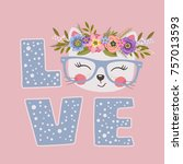 cute cat girl with floral... | Shutterstock .eps vector #757013593